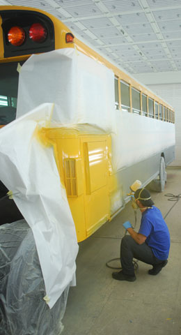 school bus paint booth